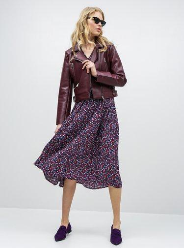 Ružovo–modré kvetované plisované šaty ONLY Phoebe