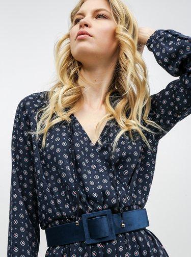 Tmavě modré vzorované šaty s překládaným výstřihem ONLY Vicky