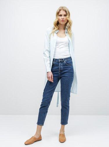 Bielo–modré košeľové pruhované šaty s opaskom VERO MODA Silje