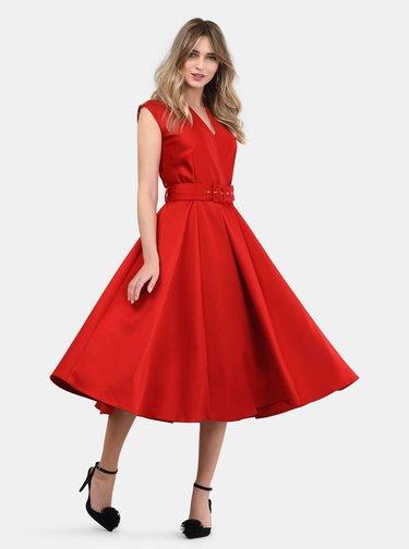 Červené rebrované šaty Closet