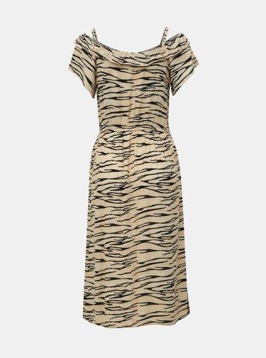 Béžové šaty s odhalenými rameny a zebřím vzorem Dorothy Perkins