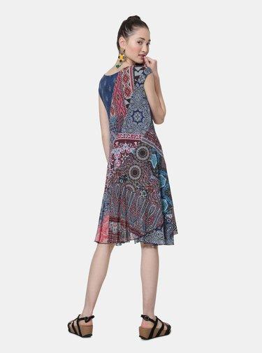 Modro–vínové vzorované šaty Desigual Rasha