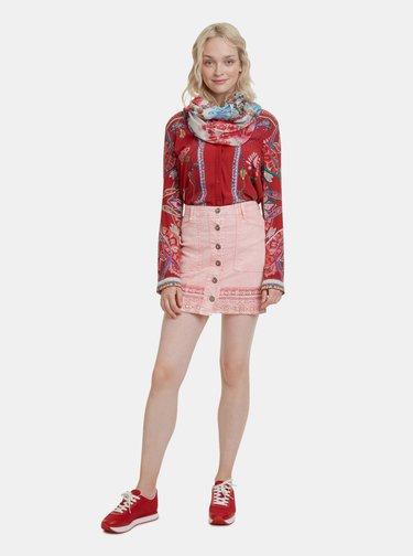 Ružová kvetovaná šatka s brmbolcami Desigual Geisha 36