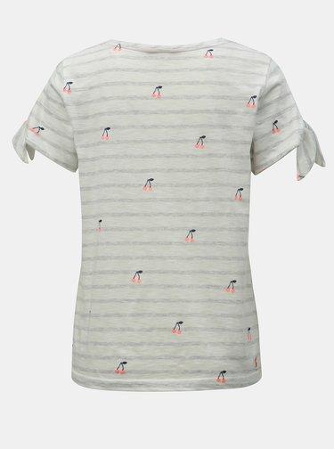 Tricou alb in dungi cu motiv cirese Tom Joule Tiggy