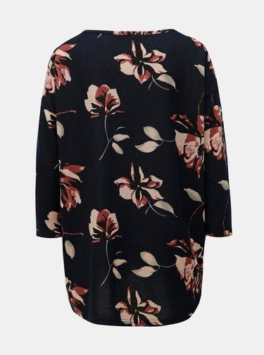 Tmavomodré kvetované voľné tričko s 3/4 rukávom ONLY Elcos
