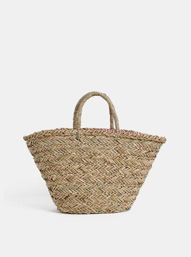 Béžová puntíkovaná plážová slaměná taška Tom Joule
