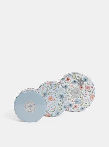Sada tří květovaných dóz v krémové a modré barvě Cooksmart