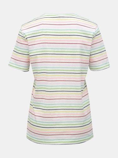 Biele pruhované tričko ONLY Dotti