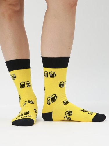 Žluté vzorované ponožky Fusakle Na zdraví