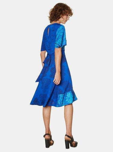 Modré vzorované šaty s volánom Desigual Fedra