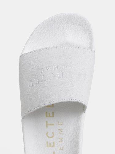 Papuci albi din piele intoarsa Selected Femme Steph