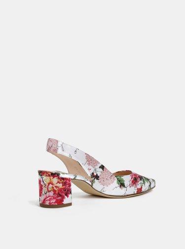 Pantofi rosu-alb florali cu toc stabil Högl