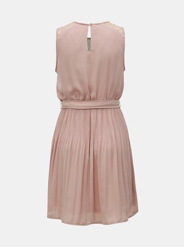 Staroružové šaty s plisovanou sukňou ONLY Carolina
