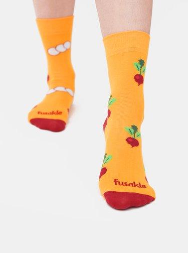 Žluté vzorované ponožky Fusakle Ředkvička
