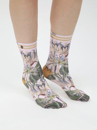 Svetloružové dámske kvetované ponožky XPOOOS