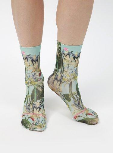 Mentolové dámske kvetované ponožky XPOOOS