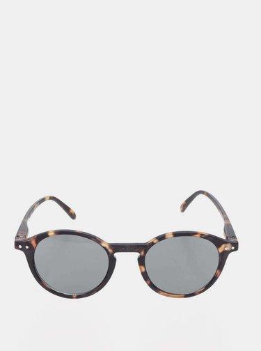 Hnedo-čierne vzorované slnečné okuliare s čiernymi sklami IZIPIZI #D