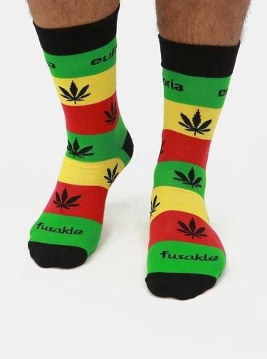 Žluto-zelené vzorované ponožky Fusakle Euforia Reggae