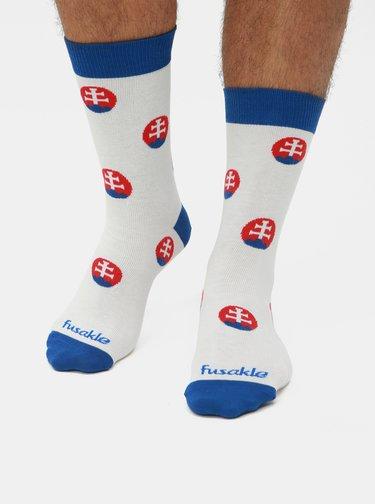 Bílé vzorované ponožky Fusakle Guličkár