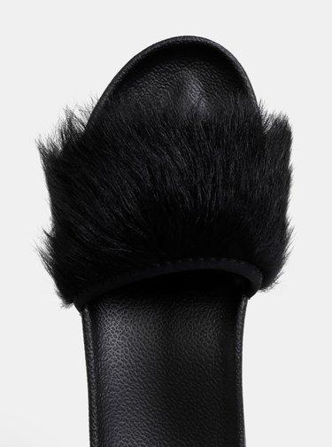 Čierne dámske šľapky s kožušinkou UGG