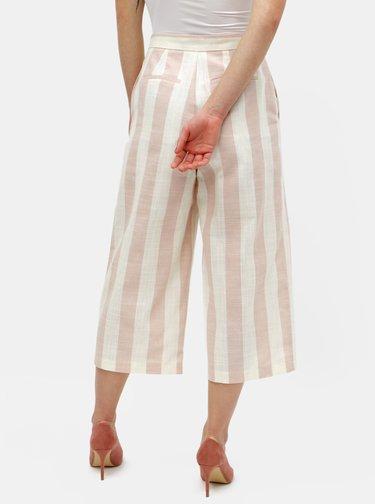 Krémovo-růžové pruhované culottes ONLY Nanna