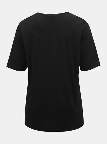 Černé basic tričko s rozparky Ulla Popken