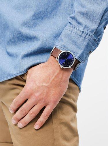 Ceas unisex cu curea maro din piele CHPO Harold Navy Metal