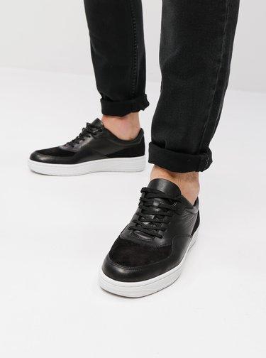 Pantofi sport barbatesti negri din piele cu detalii din piele intoarsa Vagabond Corey