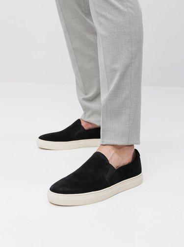 Pantofi slip on barbatesti negri din piele intoarsa Vagabond Paul