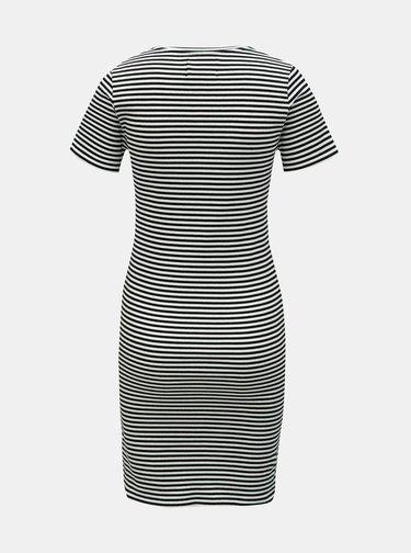 Bielo–čierne pruhované puzdrové šaty Calvin Klein Jeans