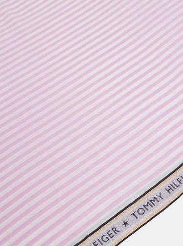 Růžový pruhovaný šátek Tommy Hilfiger