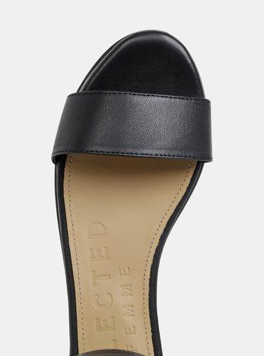 Černé kožené sandály Selected Femme Merle