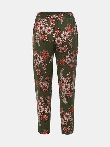 Kaki kvetované nohavice Dorothy Perkins Petite