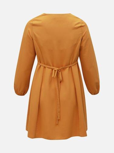 Horčicové šaty Dorothy Perkins Curve