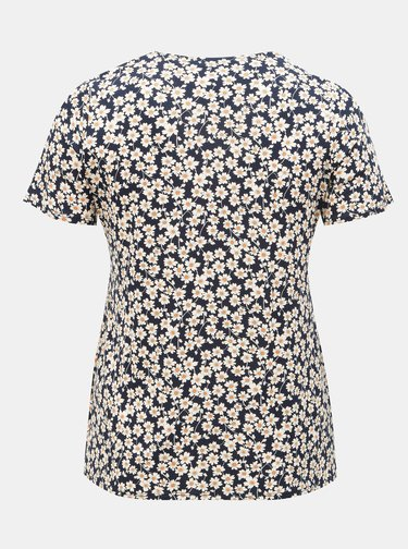 Tmavě modré květované tričko Dorothy Perkins Curve