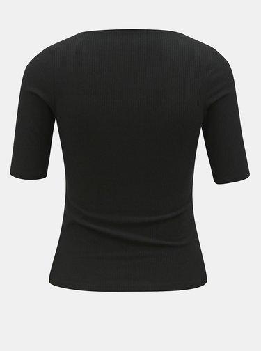 Černé žebrované tričko Dorothy Perkins Petite