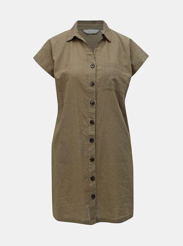 Kaki košeľové šaty s prímesou ľanu Dorothy Perkins Petite