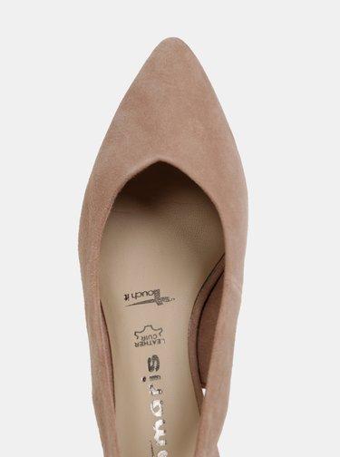 Pantofi bej din piele intoarsa Tamaris