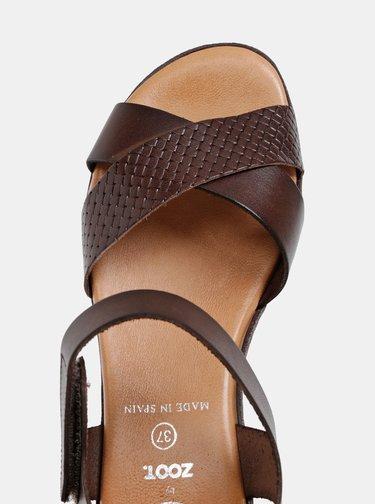 Tmavohnedé kožené sandále na plnom podpätku OJJU