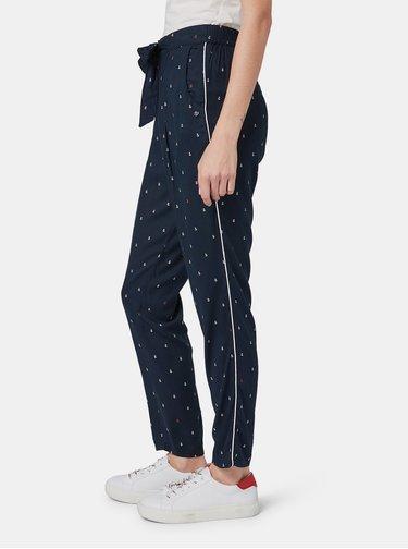 Tmavomodré dámske vzorované nohavice Tom Tailor Denim