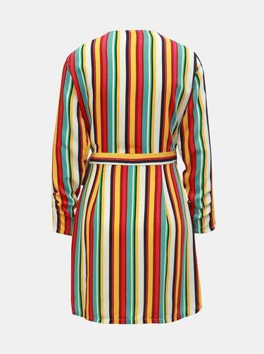 Růžovo-žluté pruhované zavinovací šaty ONLY Milly
