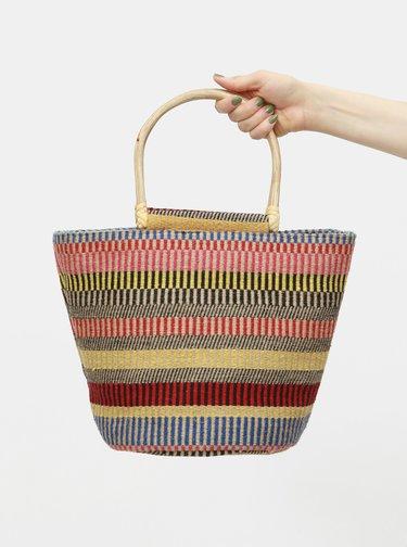Červeno-béžová jutová vzorovaná kabelka Pieces Ellessa