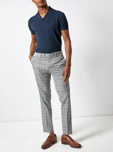 Šedé kostkované kalhoty Burton Menswear London