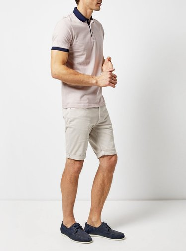 Tricou polo roz deschis in dungi Burton Menswear London