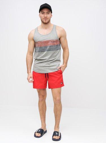 Červené pánskE slim fit plavky s potlačou Tommy Hilfiger