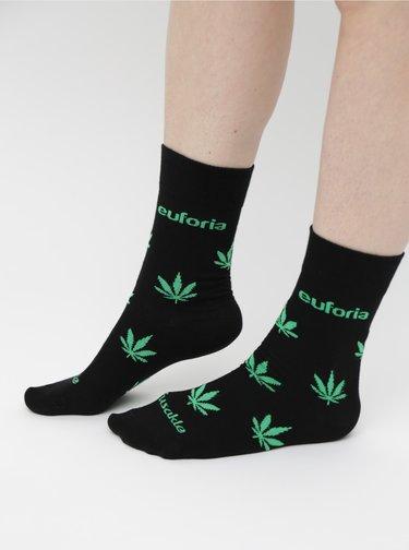 Černé vzorované ponožky Fusakle Euforia zelena