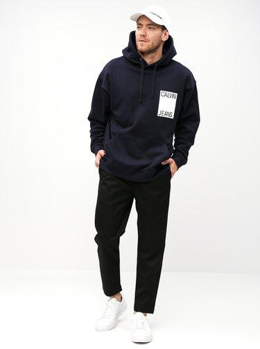 Tmavě modrá pánská oversize mikina Calvin Klein Jeans