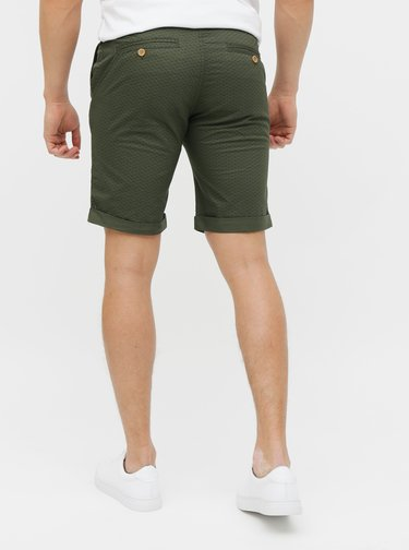 Tmavě zelené vzorované kraťasy Blend