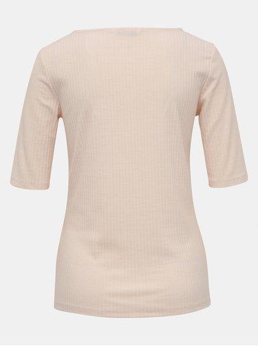 Světle růžové žebrované tričko ONLY Gina