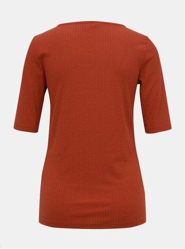 Hnědé žebrované tričko ONLY Gina